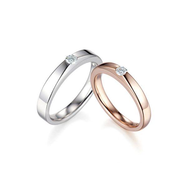 화이트 골드/핑크 골드 다이아몬드 커플링