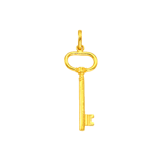 24k golden key pendent